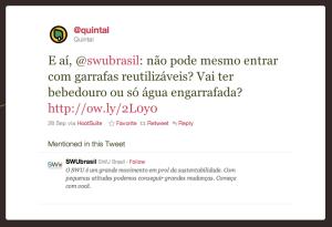 E aí, @swubrasil: não pode mesmo entrar com garrafas reutilizáveis? Vai ter bebedouro ou só água engarrafada? http://ow.ly/2L0y0